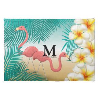 Monogramm-tropisches Flamingo-Strand-Paradies Stofftischset