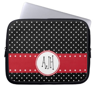 Monogramm - Tupfen, punktiertes Muster - Schwarzes Laptop Sleeve