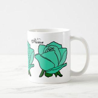 Monogramm-Türkis-Rosen-Tassenschalen und Steins Kaffeetasse