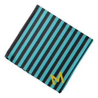 Monogramm-Türkis-Streifen-Muster Halstuch