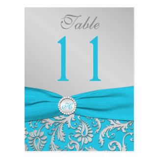 Monogramm-Türkis und Silber-Damast-Tischnummer Postkarten