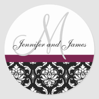 Monogramm u. Namen-Damast-Wein-Hochzeits-Aufkleber Runder Aufkleber