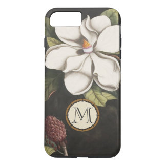 Monogramm-Vintage Magnolien-Blumenmuster iphone iPhone 8 Plus/7 Plus Hülle