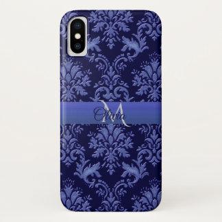 Monogramm-Vintager blauer Damast iPhone X Kasten iPhone X Hülle