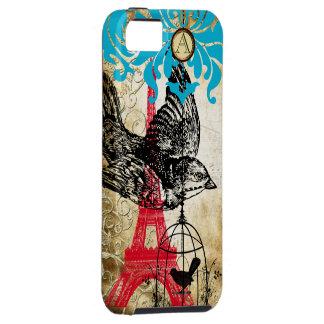 Monogramm-Vintages Vogel Effiel Turm-Damast iPhone iPhone 5 Schutzhülle