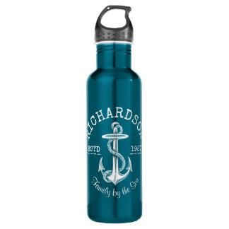 Monogramm-Vintages weißes Seeanker-Marinelogo Trinkflasche