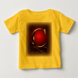 """Monogramm VIP-Gold """"C"""" im Rot und im Schwarzen Baby T-shirt"""