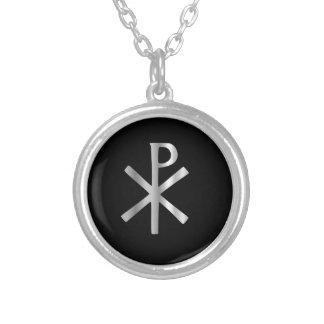 Monogramm von Christus - Chi Rho Halskette Mit Rundem Anhänger
