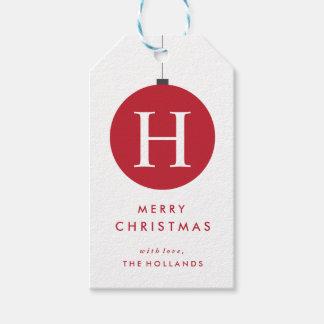 Monogramm-Weihnachtsball-Geschenk etikettiert | Geschenkanhänger