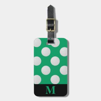 Monogramm-weiße Golf-Bälle, Kleeblatt-Grün Kofferanhänger