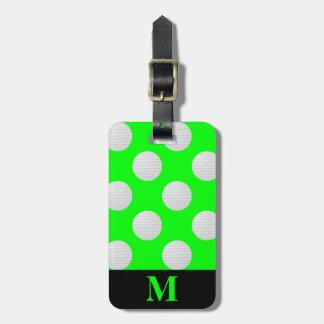Monogramm-weiße Golf-Bälle, Limones Grün Kofferanhänger