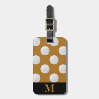 Monogramm-weiße Golfbälle, antikes Mattgold Kofferanhänger