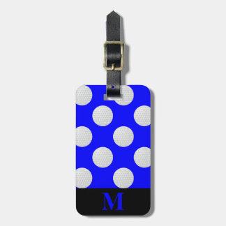 Monogramm-weiße Golfbälle, blau Kofferanhänger