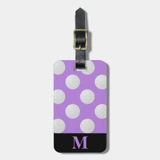 Monogramm-weiße Golfbälle, Lavendel Gepäckanhänger