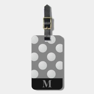 Monogramm-weiße Golfbälle, mittleres Grau Gepäckanhänger
