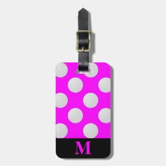 Monogramm-weiße Golfbälle, rosa Kofferanhänger
