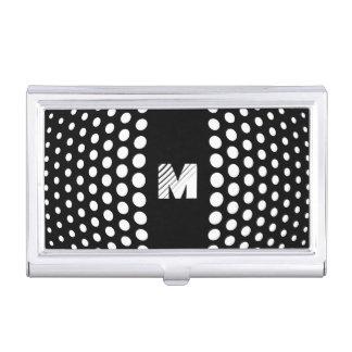 Monogramm-weißes Tupfen-Muster Visitenkarten Dose
