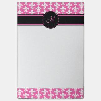 Monogramm-weißes und heißes Rosa-Lilien-Muster Post-it Klebezettel