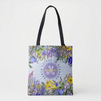 Monogramm-Wildblumen-Vintage viktorianische Blumen Tasche