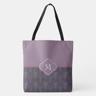 Monogrammdunkle lila Grunge-Wellen Tasche