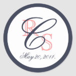 Monogrammed Coral Navy Blue Wedding Stickers