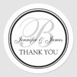Monogrammed Thank You for Weddings Round Sticker