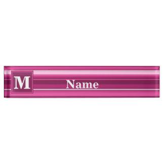 Monogrammfuchsienstreifen Namensplakette