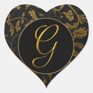 Monogrammg-Gold und schwarzes Herz-Aufkleber