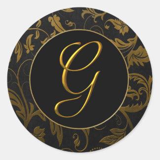 Monogrammg-Gold und schwarzes Runder Aufkleber