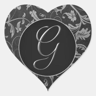 Monogrammg-Silber und schwarzes Herz-Aufkleber