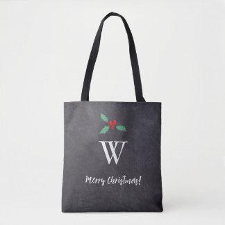 Monogramminitiale • Frohe Weihnachten • Tasche