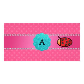 Monogrammmarienkäfer-Rosa-Tupfen Foto Grußkarte