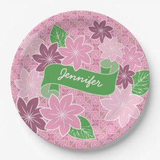 Monogrammrosa Clematis-Grün-Fahnen-Japan-Kimono Pappteller