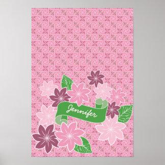Monogrammrosa Clematis-Grün-Fahnen-Japan-Kimono Poster