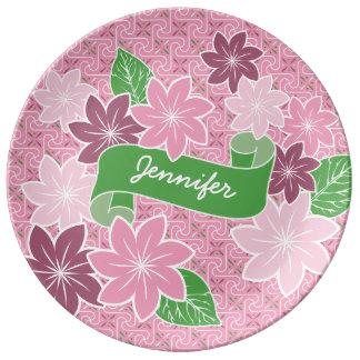 Monogrammrosa Clematis-Grün-Fahnen-Japan-Kimono Teller
