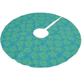Monogrammstarfish-Mengen-Muster 2 Polyester Weihnachtsbaumdecke