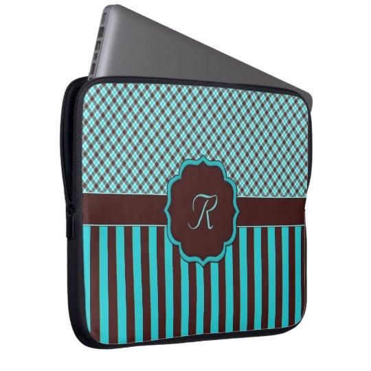 Monogrammtartan-lt Aquamarin-Choc Laptop Sleeve
