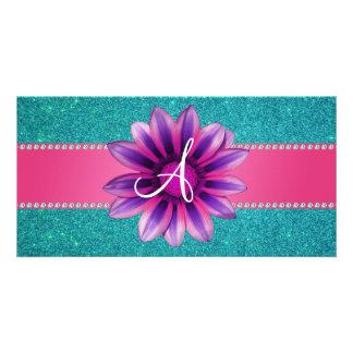 Monogrammtürkis-Glitter-Rosagänseblümchen Bildkarten