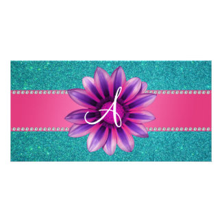 Monogrammtürkis-Glitter-Rosagänseblümchen Bildkarte