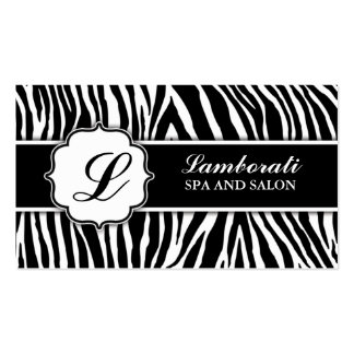 Monogrammzebra-Druck-Haar-Stylist-Friseur Visitenkarten