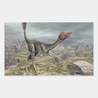 Mononykus Dinosaurier in der Wüste - 3D übertragen Rechteckiger Aufkleber