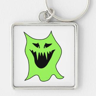 Monster-Cartoon. Grün und Schwarzes Schlüsselbänder
