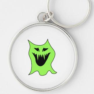Monster-Cartoon. Grün und Schwarzes Silberfarbener Runder Schlüsselanhänger