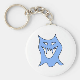 Monster-Cartoon im Blau Standard Runder Schlüsselanhänger