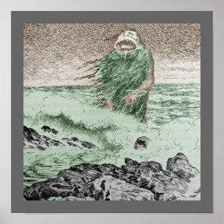 Monster Nokken, der aus dem Wasser heraus geht Poster