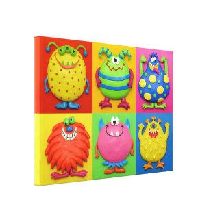 Monster-Party-Baby-Jungen-Duschen-Kinderzimmer Leinwand Druck