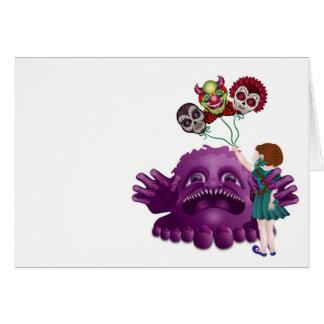 Monstergnome-Schädel und kleines Mädchen Karte