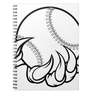 Monstergreifer, der Baseball-Ball hält Notizblock