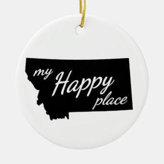 Montana ist mein glückliches Platz-Schwarzes u. Keramik Ornament