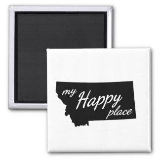 Montana ist mein glückliches Platz-Schwarzes u. Quadratischer Magnet